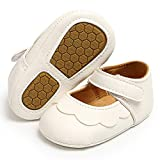 SOFMUO Baby Girls Mary Jane Flats Non-Slip Soft Rubber Sole Infant Sneakers Toddler Princess Dress Walking Shoes(White,6-12 Months)