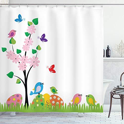ABAKUHAUS Ostern Duschvorhang, Frühling Illustration, Seife Bakterie Schimmel & Wasser Resistent inkl. 12 Haken & Farbfest, 175 x 200 cm, Multicolor