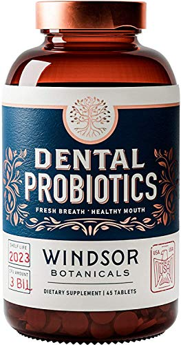Dental Probiotics Bad Breath Treatment by Windsor Botanicals - Chemical-Free, 3 Billion CFU - L Paracasei, Reuteri, Sakei, Salivarius for Balanced Oral Health - 45 Mint Tablets