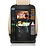 Nothomme Car Backseat Organizer - Multi-Pockets Car Seat Back Organizer with 10'' Tablet Holder - Travel Accessories Kick Mats for Kids Toddlers (Black)