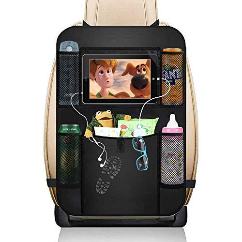 Nothomme Organizador de asiento trasero de coche, organizador de respaldo de asiento de coche con soporte para tablet de 25,4 cm, accesorios de viaje, alfombrillas para niños pequeños, color negro