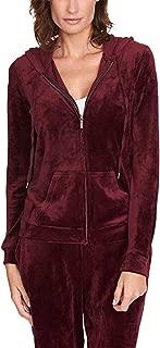 Ladies' Velour Hooded Jackets for Women Ellie Merlot M