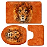 Showudesigns Stylish Lion Bathroom Doormat Rug Set Bath Mat,Contour,Toilet Seat Lid Cover Orange