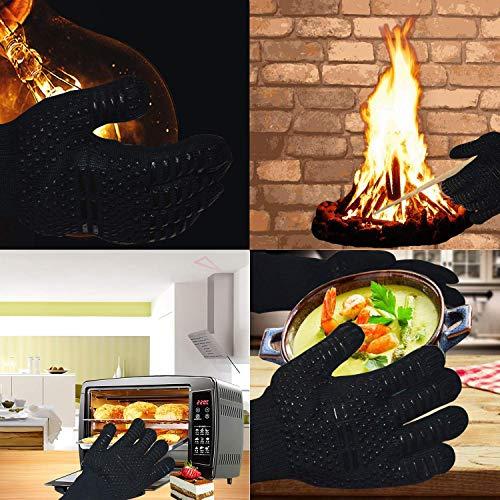 Senders Grillhandschuhe, Ofenhandschuhe Hitzebeständige bis zu 800 ° C Grill Handschuhe Universalgröße Kochhandschuhe Backhandschuhe rutschfeste mit Silikon für BBQ/Kochen/Backen/Schweißen - 6