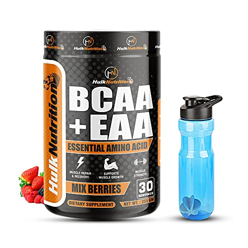 HulkNutrition EAAs-BCAA Energy Drink for Workout, Pre/Post Workout Supplement, Recovery, Performance, Muscle Protein Synthesis All 9 Essential Amino Acids [30, Mix Berries, 255g] Free Shaker Bottle