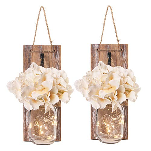 Besuerte Mason Jar Wall Sconces with LED Fairy Lights Automatic On and Off Timer Modern Wall Hanging Home Decor Farmhouse Decor Decorative Vintage Lighting