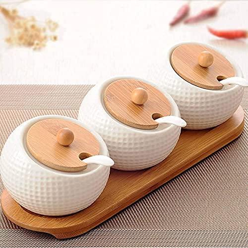 Portaspezie da Cucina Portaoggetti in Legno Superficie in Ceramica Bianca con Fondo a Cucchiaio Tre barattoli in Uno Utilizzato per conservare spezie Solide inodore