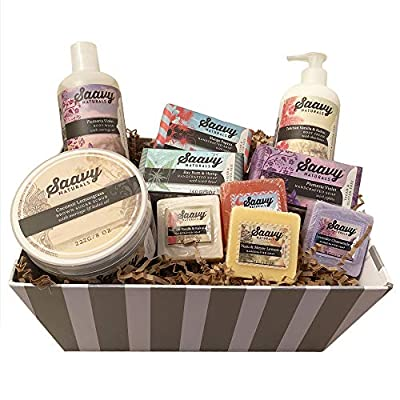 Spa Gift Baskets for Women   Gluten-Free Vegan 10 Piece Gift Set Includes Organic Body Bars, Hand Soap, Moisturizing Cream, Body Wash, Sugar Scrub