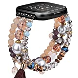 CAGOS Bracelet Compatible with Fitbit Versa 2 Bands /Fitbit Versa Bands/Versa Lite Bands Women, Handmade Beaded Elastic Replacement Bands Straps for Fitbit Versa 2 Special Edition SmartWatch(Brown)