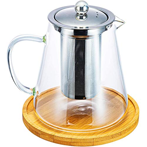 Haudang Tetera de cristal de 950 ml con infusor de acero inoxidable extraíble para hojas sueltas, tetera sin platillo