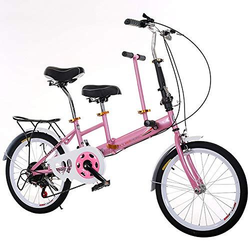 HZYYZH Plegable Bicicleta Tándem Padre E Hijo Variable De Bicicleta De La Velocidad De La Bicicleta Portátil Móvil Adecuado para Viajar con Niños,Rosado