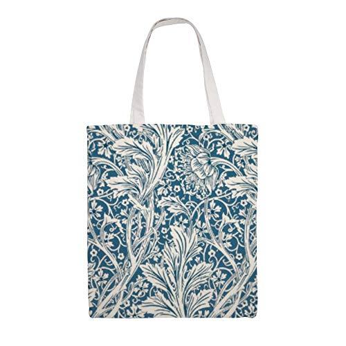 Bolsas de lona elegantes, con patrón de hojas de acanto, reutilizables, lavables...