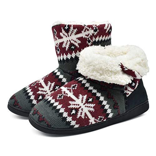 ONCAI Damen Warme Hausschuhe Stiefel Gestrickte Mode Winterschuhe Bootie Muster Gedruckt rutschfeste Baumwollschuhe, Rot, 38/39 EU