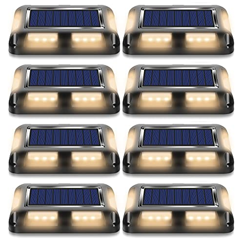 MEIKEE 2021年改良版 ソーラーライト 屋外 埋め込み式 ガーデンライト ソーラー式 デッキライト 光センサーで夜間自動点灯ライト IP67防水ライト 防犯対策 光センサー 高輝度 自動点灯/消灯 玄関先/庭/芝生/車道/歩道 ステップ歩道階段 庭の地上の通路 ソーラー屋外防水道路マーカー 適用 12時間以上点灯可能 1年保証 電球色【8個セット】