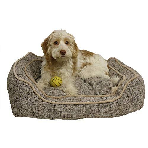Luxus-Hundebett, quadratisch, Schiefer- und Haferflocken-Motiv, Größe M - 63,5 cm
