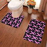 Lindsay Gosse Juego de alfombras de baño de 2 Piezas Cinta Rosa de concienciación sobre el cáncer de Mama Alfombras De Baño, Juegos De Contorno para Bañera, Ducha Y Baño
