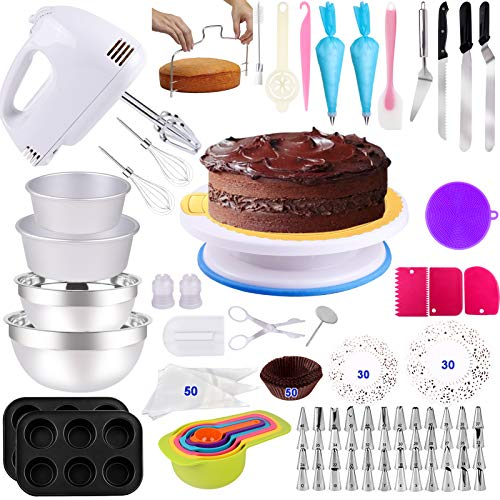 Cake Decorating Supplies 238 PCS Baking Set with Electric Hand Mixer Mixing Bowls Cake Pans, Cake Rotating Turntable, Muffin and Cupcake Pans ,Cake Decorating Kits for Beginners and Cake Lovers
