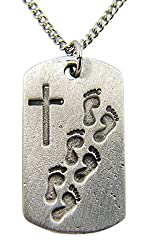 Pewter Footprints Prayer Cross Tag Medal Pendant Necklace