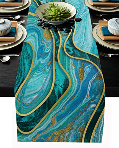 Cotton Linen Table Runner Dresser Scarves Teal Green Marble Texture Non-Slip Runner Rectangle Kitchen Tablecloth Abstract Golden Lines Holiday Dinner Parties Wedding Home Decor, 13' x 108'