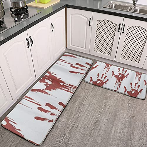 ZXZNC Set of 2 Kitchen Rugs and Mats Cushioned Anti Fatigue Comfort Runner Mat for Floor Rug Halloween Scary Bloody…