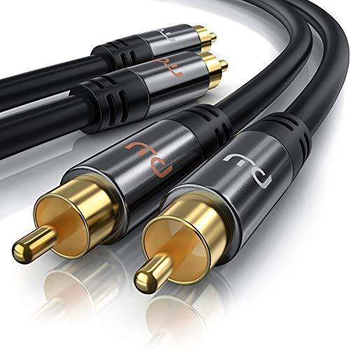 Primewire - 3m Cavo RCA Stereo - 2X RCA Maschio a 2X RCA Maschio - Serie Premium HQ - Compatibile con Ogni Tipo di Collegamento RCA