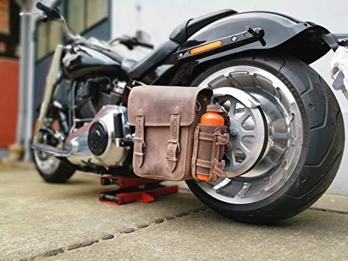 Hulk Brown Harley-Davidson braun mit Flaschenhalter Softail Schwingentasche Seitentasche Satteltasche HD Dirty Echtleder Orletanos Leder