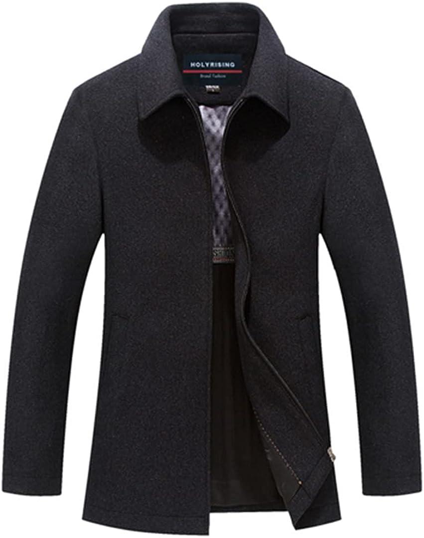 Men's Wool Blend Jackets Business Coat Zipper Coats And Jackets Warm Short Clothes Coat