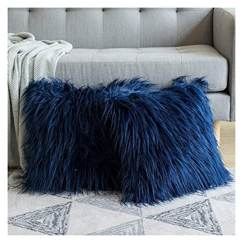 AYCYNI 2 pcs Artificial Wool Fur Sheepskin Cushion Cover Hairy Faux Plain Fluffy Soft Throw Pillowcase Washable Square Solid Pillow Case 45cm a (Color : Light green)-7