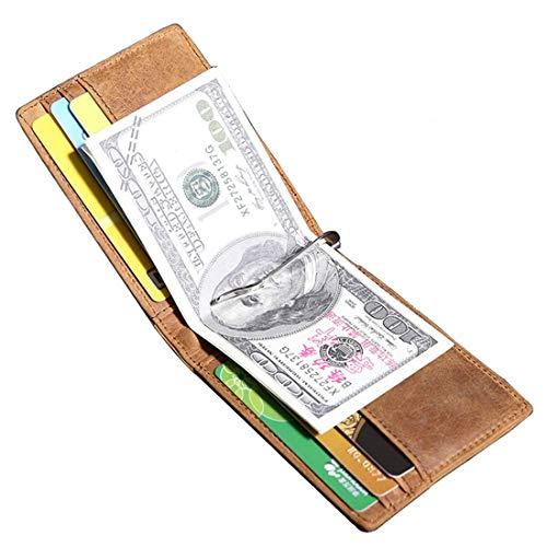 KERVINFENDRIYUN YY4 Minimalismus-Geldbörse, die alte Weisen Männer und Frauen Wieder herstellt Allgemeine Metallleder-Geld-Klipp-Taschen-Geldbörse Mehr Schirme (Farbe : Photo Color)