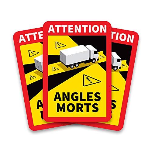 Lote de 3 adhesivos para señalización de ángulos muertos de camión, autoadhesivos