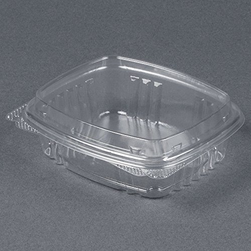 Genpaks AD08F Deli Container | 8 oz Clear Hinged Deli Container - High Dome Lid | Patented 360-Degree Seal, Leak Resistant, Unmatched Clarity | 100% Recyclable, BPA Free, Made in the USA | Case of 20