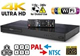 LG UBK9 Ultra-HD 4K Region-Free Blu Ray Disc DVD Player 3d Dolby Vision PAL/NTSC - 6 Feet Multi System 4K HDMI Cable…