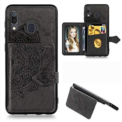 Carcasa para Galaxy A30, diseño de mandala, tela magnética en relieve, poliuretano termoplástico, PC, con soporte, ranuras para tarjetas, cartera, marco de fotos y correa (color: negro)