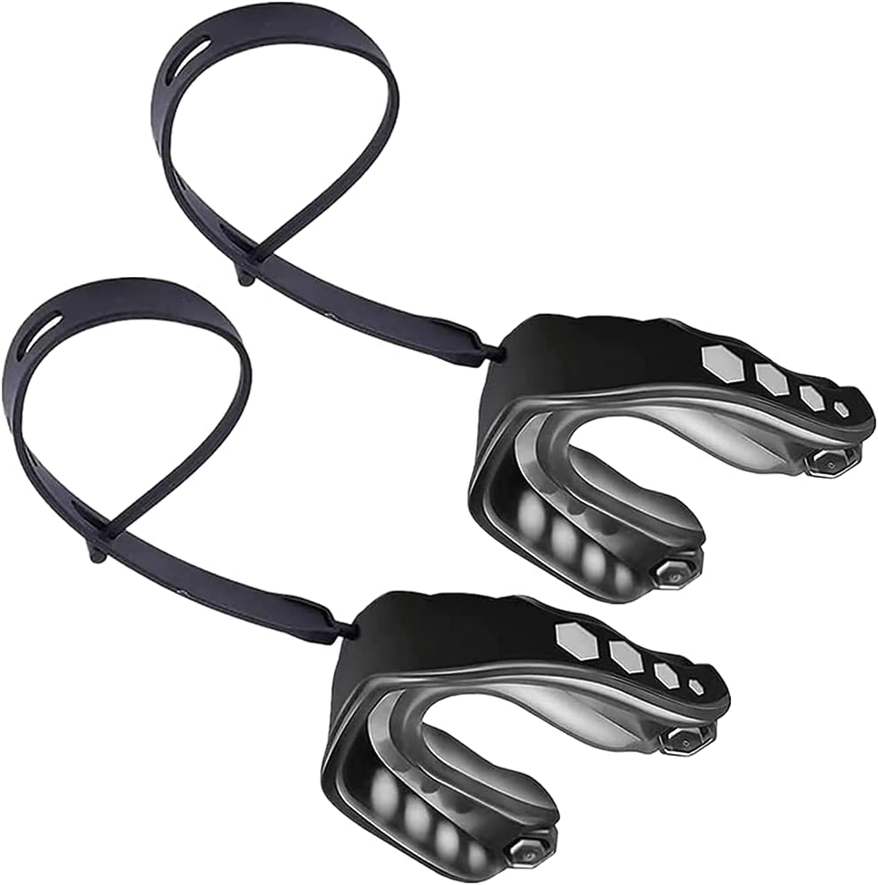 2 protectores bucales de fútbol con correa, suave protector bucal para jóvenes, boquilla de fútbol profesional, para boxeo, MMA, gafas de lacrosse, rugby y baloncesto