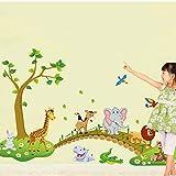 Animal Crossing Bridge niedlich Wandaufkleber Kindergarten dekorative Aufkleber drei Generationen von entfernbaren Aufklebern 140 * 90CM