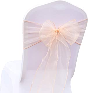 BIT.FLY 25 Pcs Organza Chair Sashes for Wedding Banquet Party Decoration Chair Bows Ties Chair Cover Bands Event Supplies - Peach