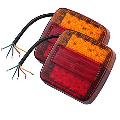 Preisvergleich Produktbild 2 x 12 V LED Rückleuchten Lampe IP65 mit E-Mark Bremslicht Rücklicht Blinkerlicht Kennzeichen Reflektor Autokennzeichen Beleuchtung für Trailer Truck Anhänger LKW Boot Vans Caravan Wohnwagen