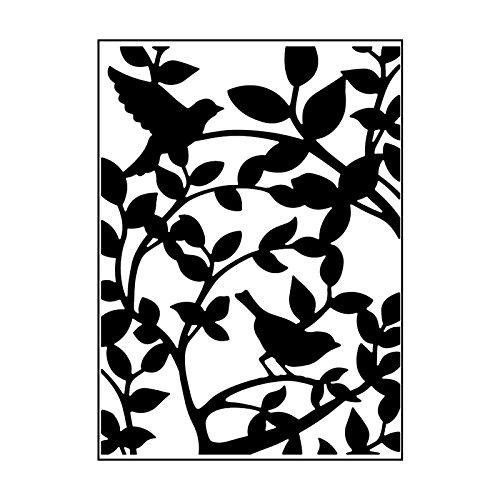 Carabelle Studio Embossing Folder Vögels in een boom, Plastic, transparant, 10,8 x 14,6 x 0,11 cm
