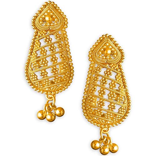 New Solid 22K/18K Fine Gold Indian Unique Beautiful Design Earrings