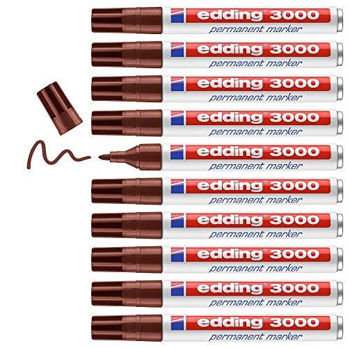 Edding 3000 marcador permanente - marrón - 10 rotuladores - punta redonda 1.5-3mm - indeleble de secado rápido - resistente al agua y a los borrones - cartón, plástico, madera, metal, tela - universal