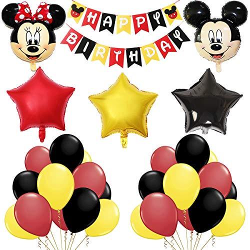 FANDE Mickey und Minnie Party Supplies, Minnie Mouse Themed Geburtstag Dekorationen, Mickey 1st Birthday Mickey Luftballons Folienballons Happy Birthday Banner für Minnie Partydekorationen