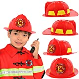 Kids Firefighter Hat | Fire Chief Helmet for Kids | Children's Fireman Helmet Costume Accessory | Fire Fighter Hard Plastic Hat | Deluxe Rigid Fireman Party Helmet | By Anapoliz
