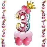 Tianhaik - Globo gigante de aluminio con números de globo inflado de aire, con diseño de corona de purpurina, para decoración del hogar, fiestas, cumpleaños., Lámina de aluminio., 3, 32 pulgadas
