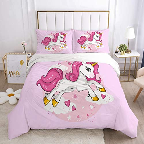 NEWAT Juego de funda de edredón y funda de almohada de unicornio 3D, juego de cama infantil, diseño de princesa de hadas y castillo encantado (CC,220 x 240 cm)