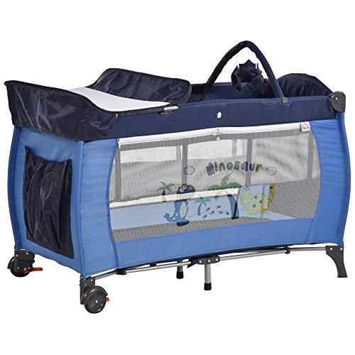 HOMCOM Kinderreisebett klappbar Reisebettmatratze Klappbett Kinder Reisebett Babybett mit Rollen Tragetasche für 0-3 Jahre Metall + Oxfordstoff Blau 120 x 60 x 78 cm