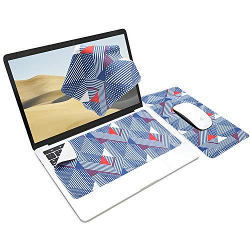 SenseAGE x Ekax Alfombrilla de ratón 3 en 1, Alfombrilla de ratón multifuncional de microfibra, Alfombrilla de teclado portátil y lavable, Protección del monitor, Limpieza, Azul geométrico