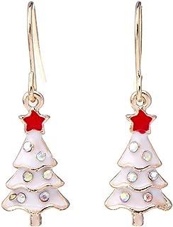Bullidea Elegant Christmas Earrings Women Girls Silver Cute Ear Stud Creative Xmas Tree Pendant Earrings 1 Pair