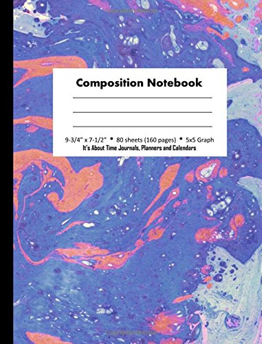 Composition Notebook: Lavender Blue Marble Design, 5x5 Graph Paper Book, 160 pages (80 Sheets), 9 3/4 x 7 1/2 inches (Marbled Design Composition Notebooks) (Volume 4)