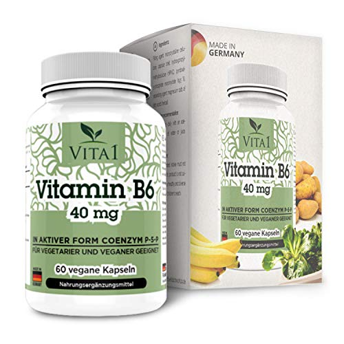 VITA1 Vitamin B6 P-5-P 40mg • 60 Capsules (2-Months-Supply) • in its Active Form Coenzyme P-5-P • Made in Germany