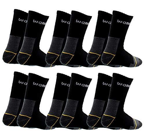 Poligono Calcetines de Trabajo para Hombre, de algodón Esponja, Punta y talón Reforzados Negro 6 pares 43-46